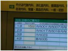 診察室前、診察の遅れ「15分」が表示されている。