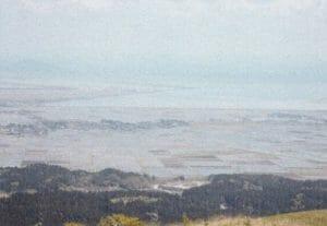 寒風山から見た八郎潟水田