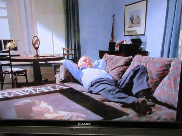 靴を履いたまま自宅のソファーの上で寝そべっている